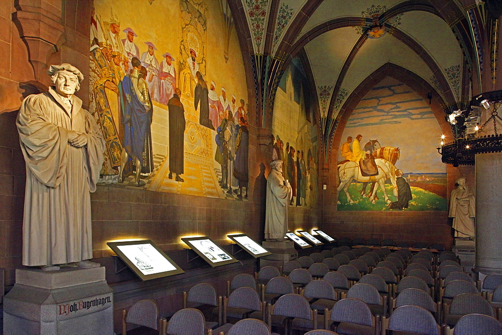 Melanchthon House, Memorial Hall, wall painting, Reformation Statues, Bretten, Kraichgau, district of Karlsruhe, Baden-Wurttemberg, Germany