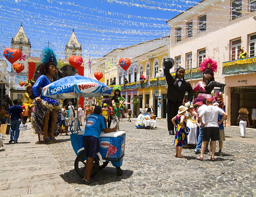 Figures with carnival outfits, historical centre of Salvador de Bahia, Brazil / Largo Cruzeiro de Sao Francisco