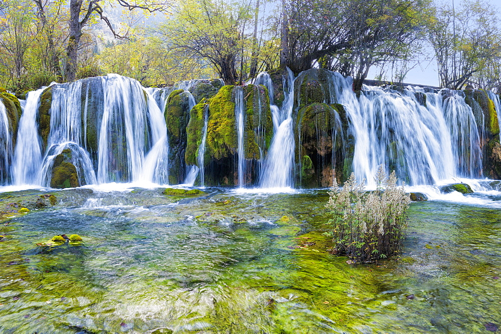 Arrow Bamboo Lake Waterfalls, Jiuzhaigou National Park, Sichuan Province, China, Unesco World Heritage Site