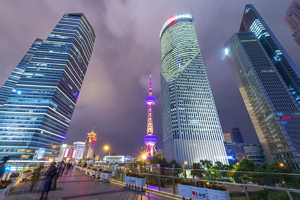 Pudong financial district at night, Shanghai, China - 1127-20247