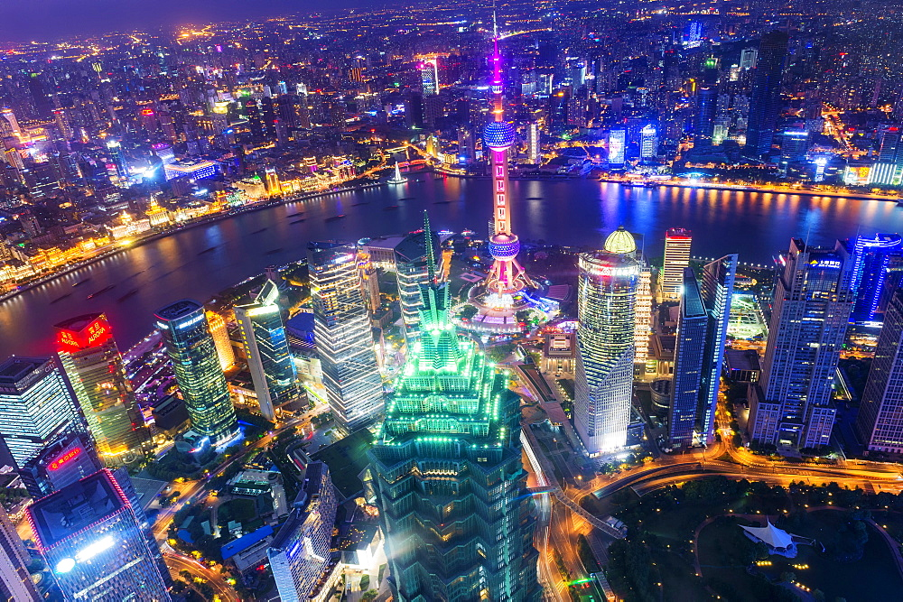 View over Pudong financial district at night, Shanghai, China - 1127-20249