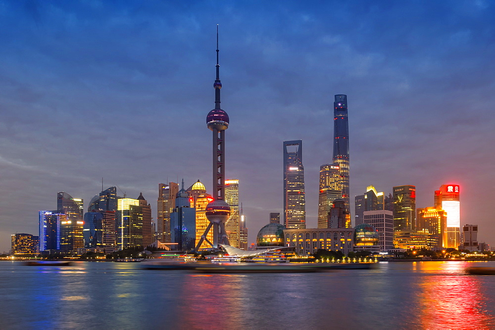 Pudong financial district skyline at night, Shanghai, China - 1127-20251