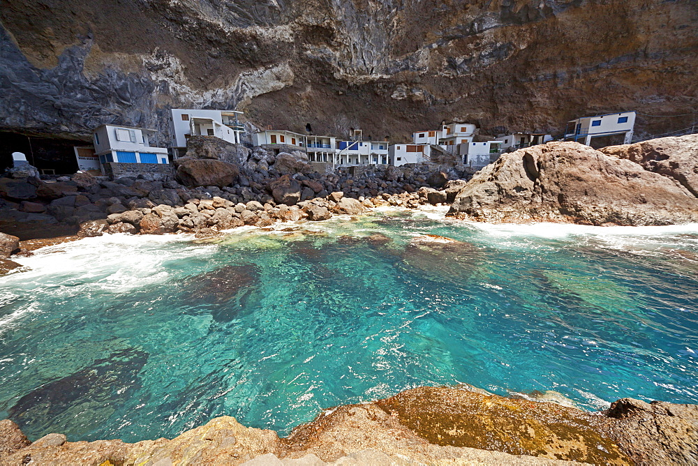 fishermens homes at the hidden pirate bay near Tijarafe, La Palma, Canary Islands, Spain, Europe