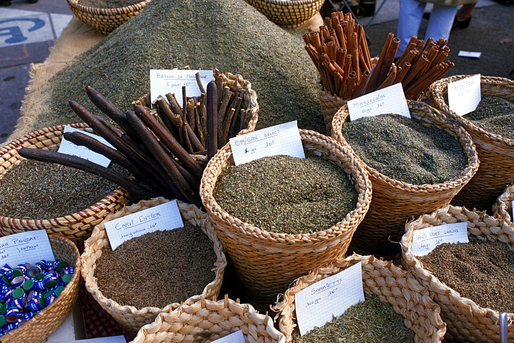 Market stall with spices, Arles, Bouches-du-Rhone, Provence, Southern France