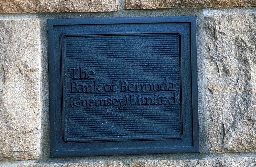 Sign of the Bank of Bermuda, St. Peter Port, Guernsey, Channel Islands, Great Britain