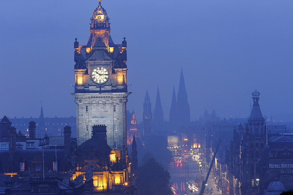 Clock tower of Balmoral Hotel, Princes Street, view from Calton Hill, Edinburgh, Lothian, Scotland