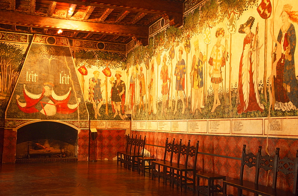 Wall painting in hall, castle of Manta, Piemont, Italy