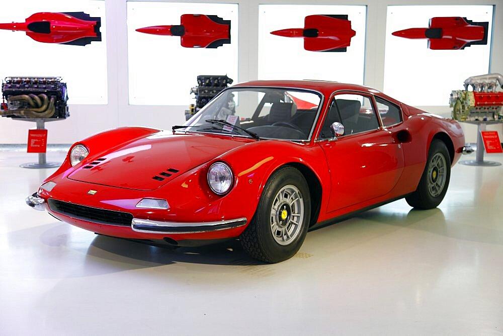 Red Ferrari Dino 246 Gt produced in 1971, Maranello, Emilia-Romagna, Italy, Europe