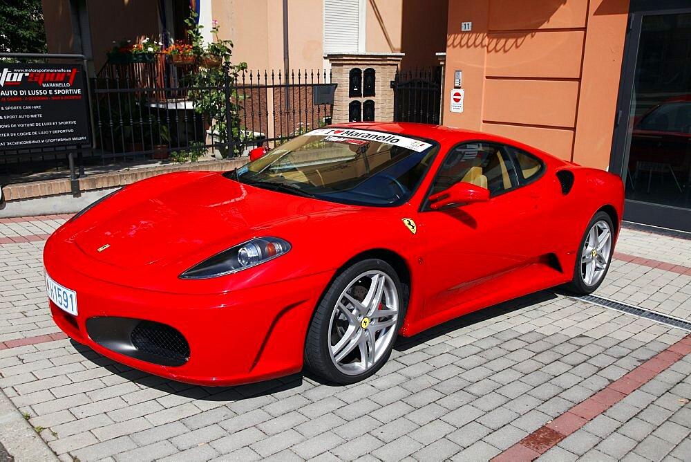 Red Ferrari 430, Maranello, Emilia-Romagna, Italy, Europe