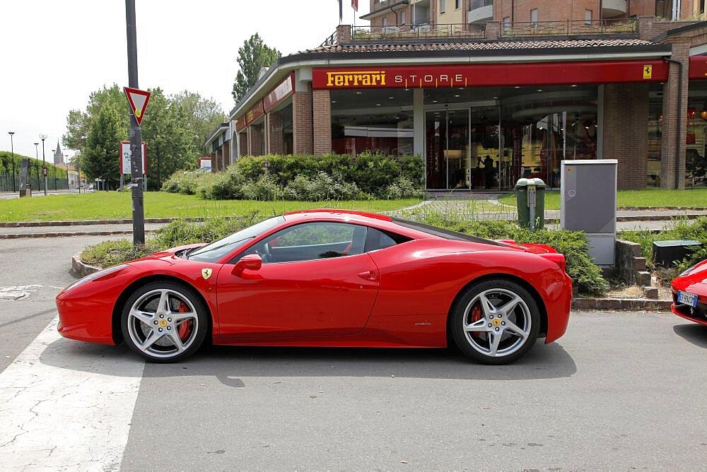 Red Ferrari 458 car and store, Maranello, Emilia-Romagna, Italy, Europe