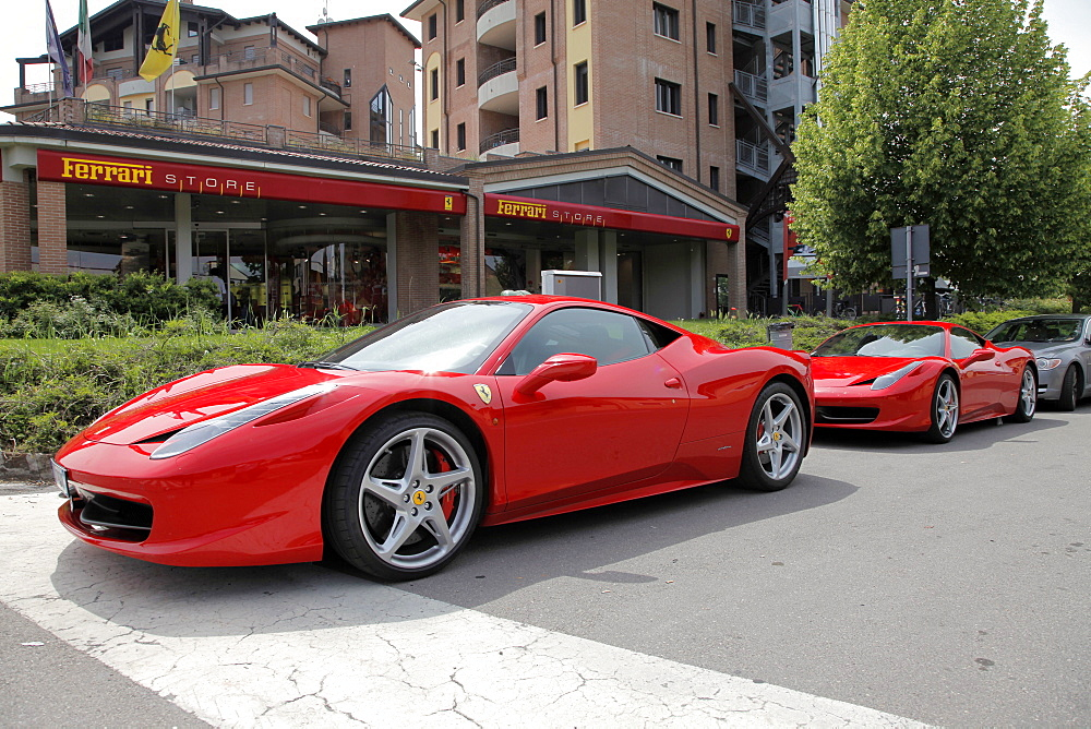 Red Ferrari 458 cars and store, Maranello, Emilia-Romagna, Italy, Europe
