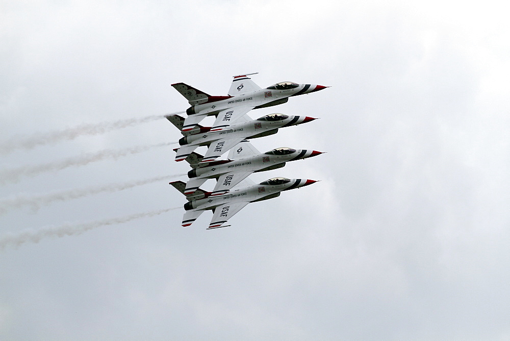Four F-16c Jet Fighters, Waddington, Lincolnshire, England, United Kingdom, Europe