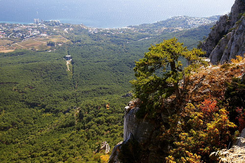 View to Alupka and cable car, Yalta, Crimea, Ukraine, Europe