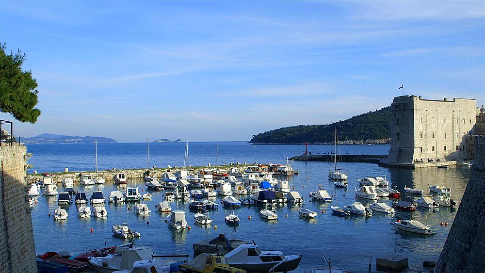 Small Boats In Harbour & Lokrum Island, Old Town, Dubrovnik, Croatia