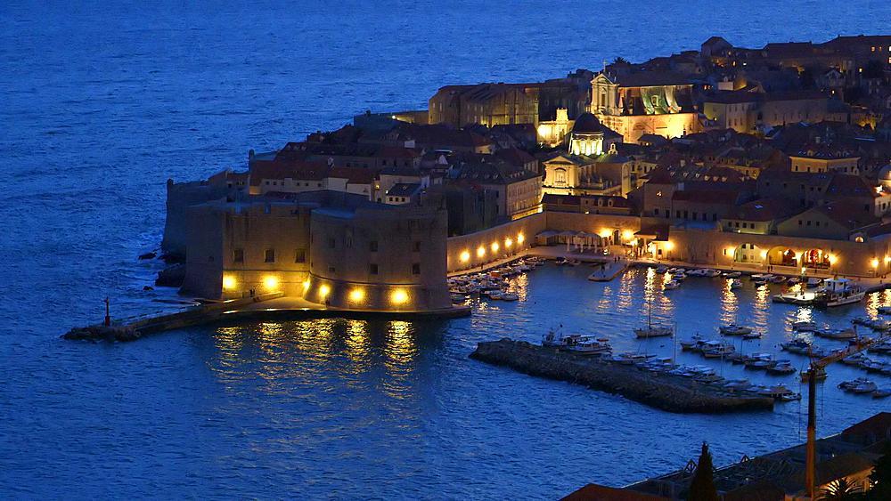 Night Falls Over Old Port & Harbour, Old Town, Dubrovnik, Croatia