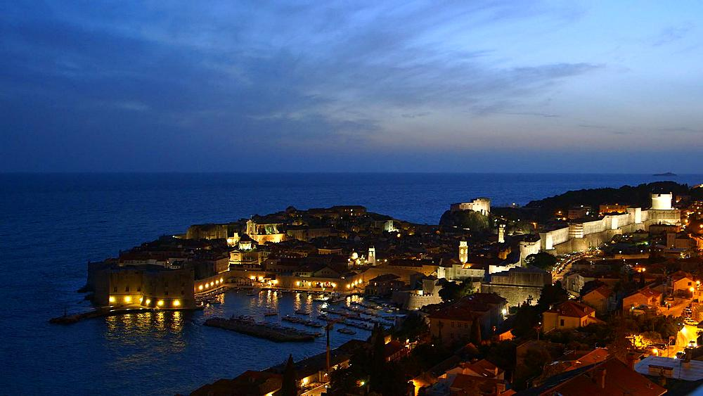 Night Falls On Old Town & Harbour, Old Town, Dubrovnik, Croatia