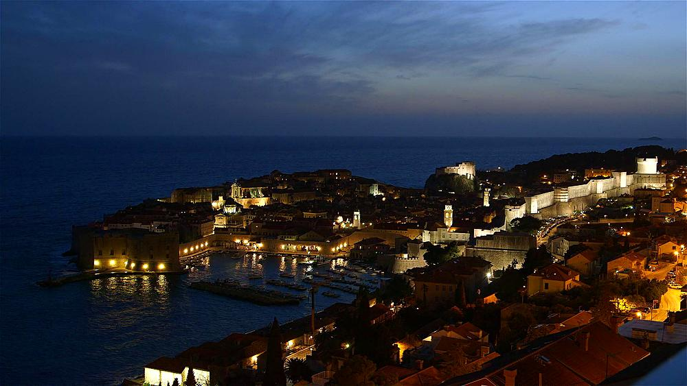 Night Falls On Old Port And Harbour, Old Town, Dubrovnik, Croatia