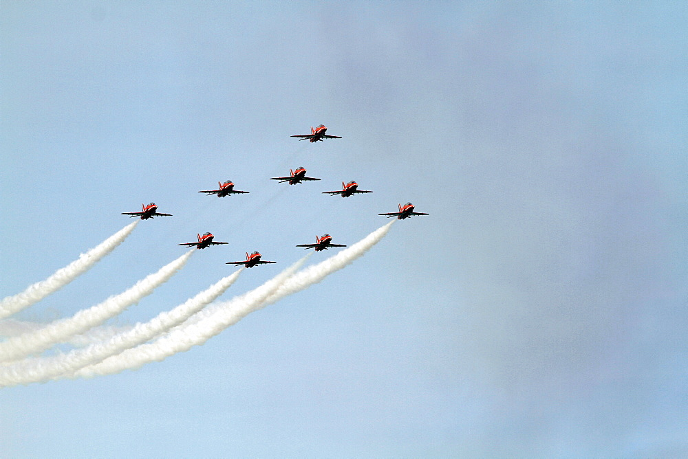 Red Arrows Aerobatic Display, South Bay, Scarborough, North Yorkshire, England, United Kingdom, Europe