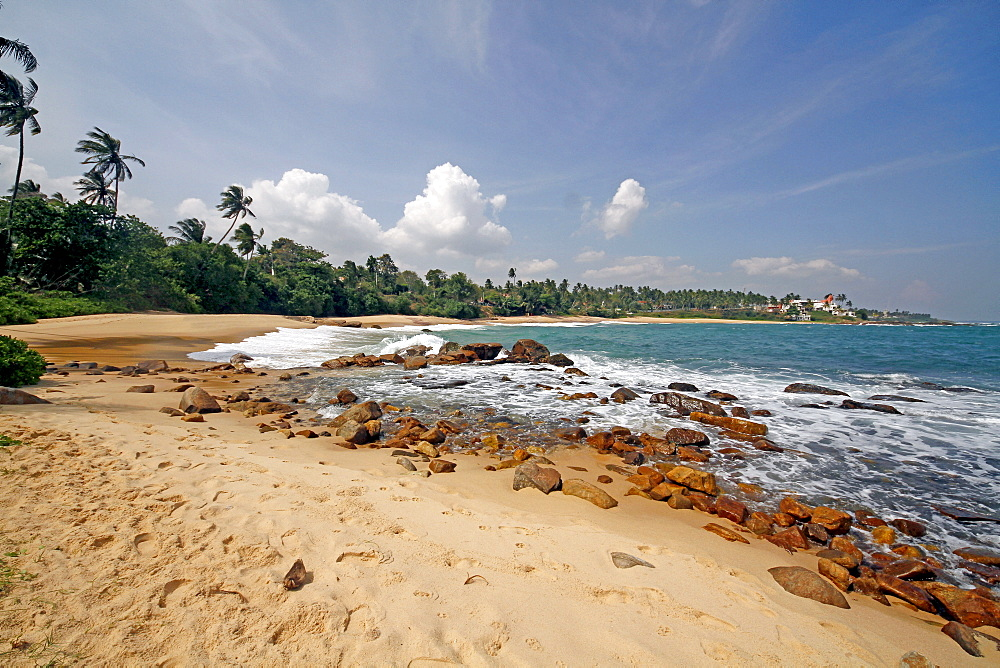 Golden Beach and rocks, Tangalla, Sri Lanka, Asia