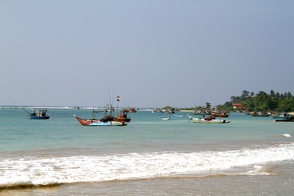 Fishing boats in Bay, Weligama, Sri Lanka, Asia
