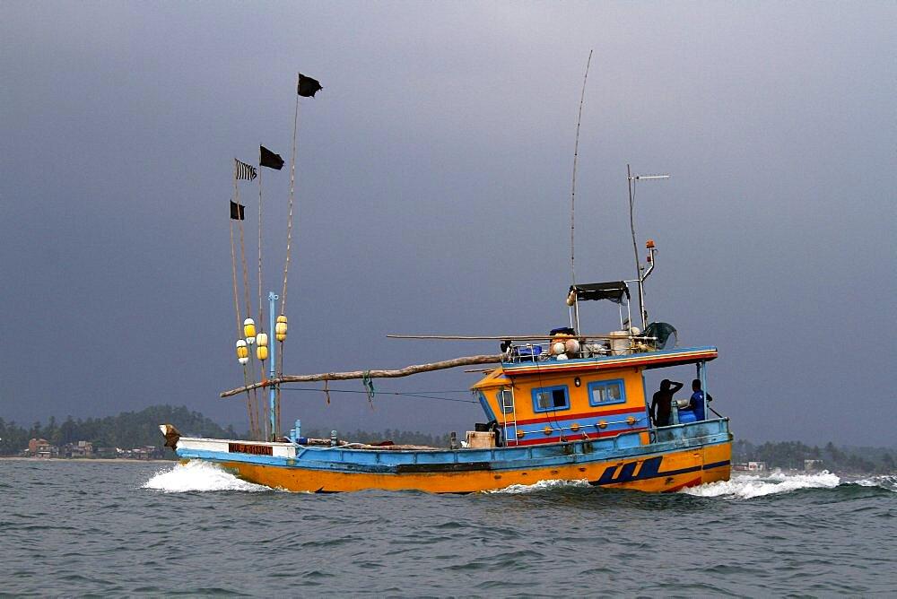 Colourful fishing boat, Galle, Sri Lanka, Asia