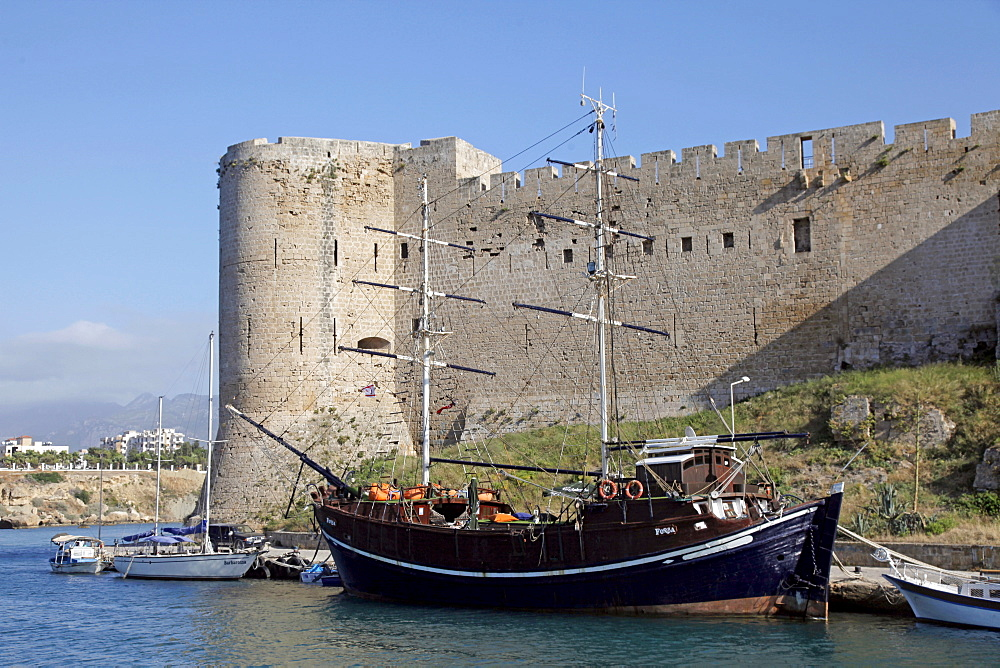 Castle wall and boats, Kyrenia, Northern Cyprus, Mediterranean, Europe