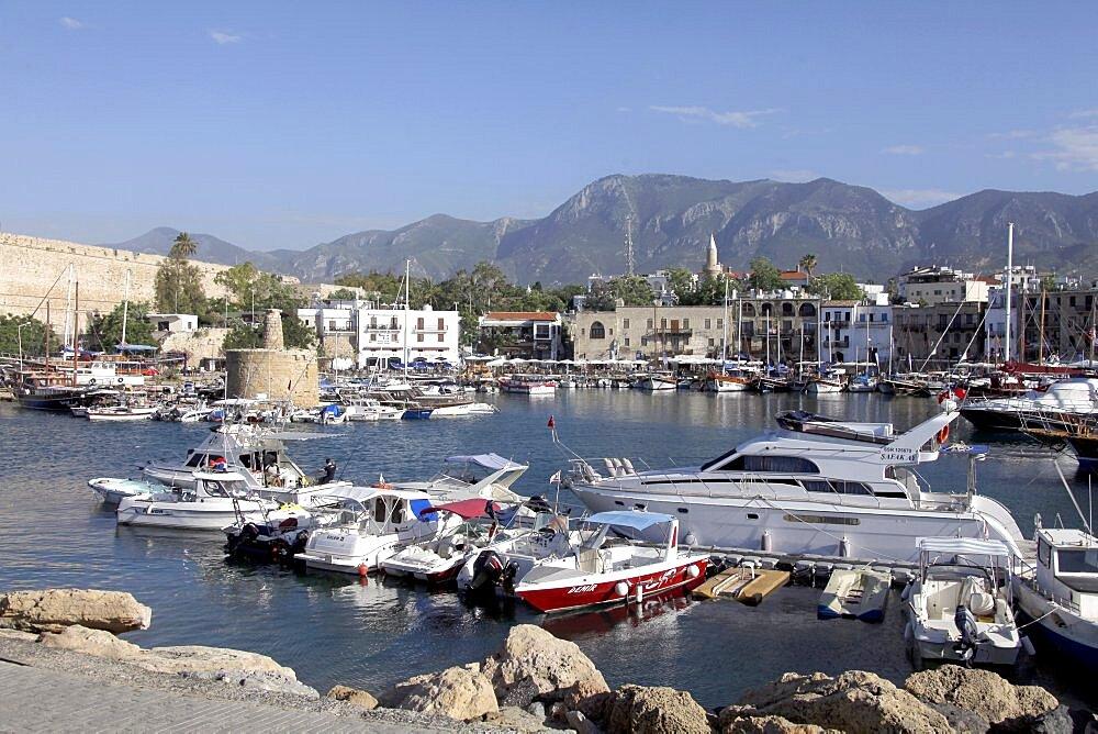 Boats in harbour, Kyrenia, Northern Cyprus, Mediterranean, Europe