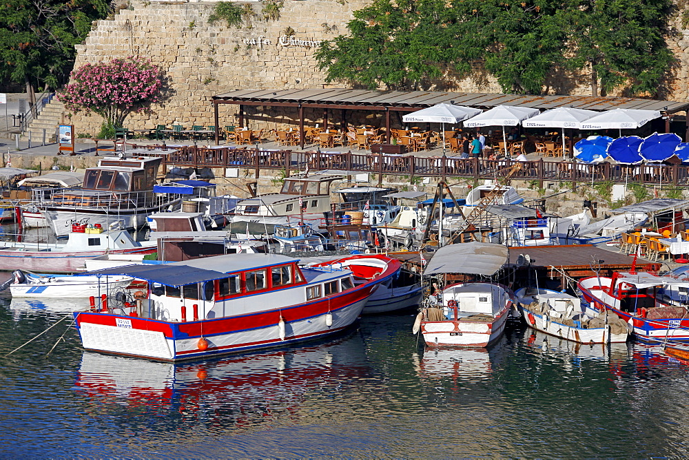Boats in harbour and restaurant, Kyrenia, Northern Cyprus, Mediterranean, Europe