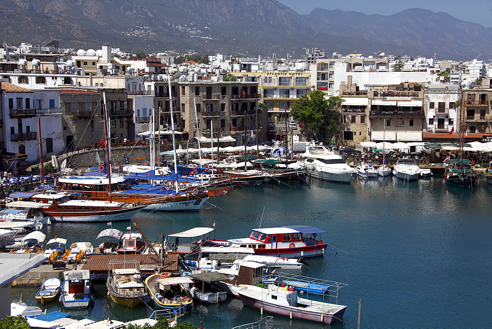 Harbour, boats and restaurants, Kyrenia, Northern Cyprus, Europe