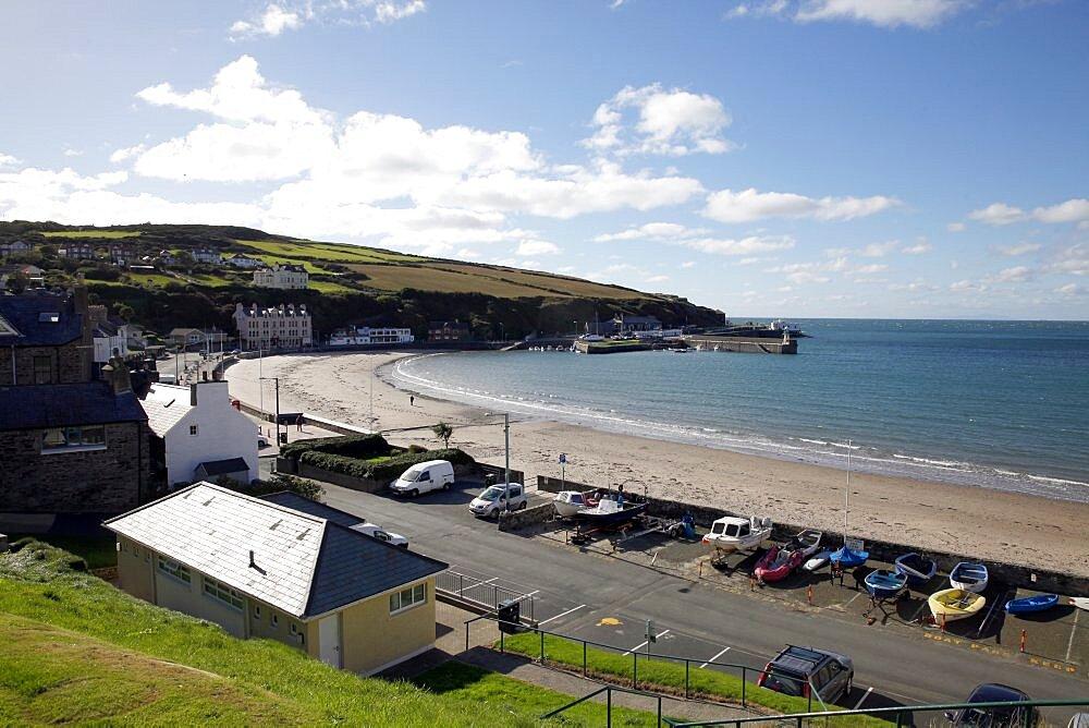 Beach, Harbour and Irish Sea, Isle of Man, British Isles, Europe