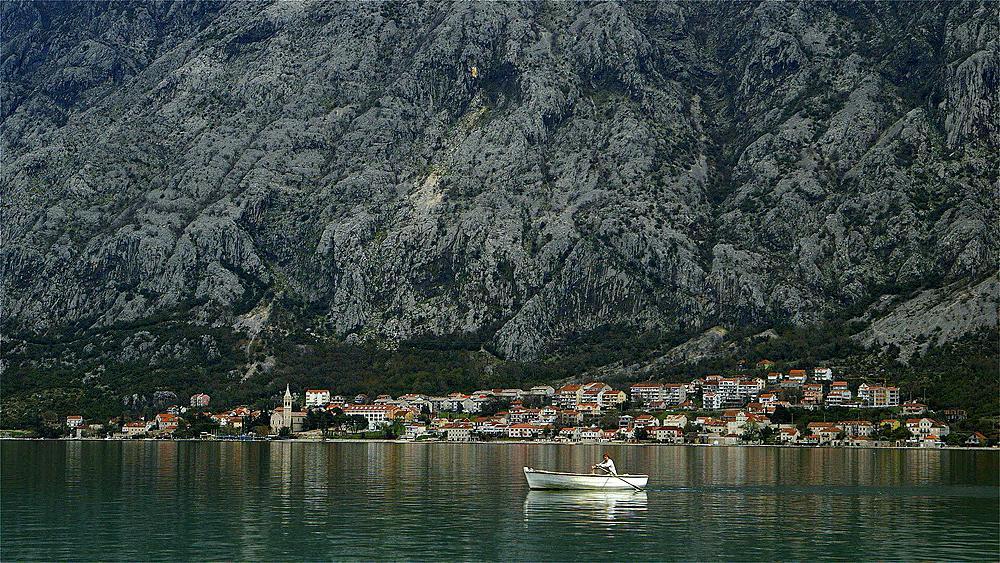 Rowing boat in kotor bay & orahovac town, orahovac,kotor bay, Montenegro