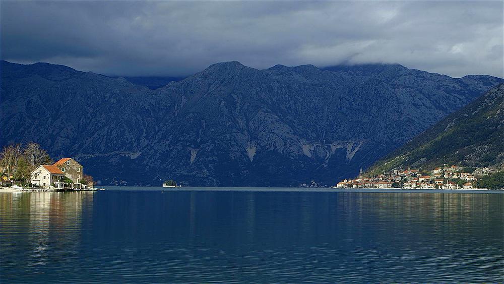 Kotor bay,perast town & mountain range, kotor bay, Montenegro