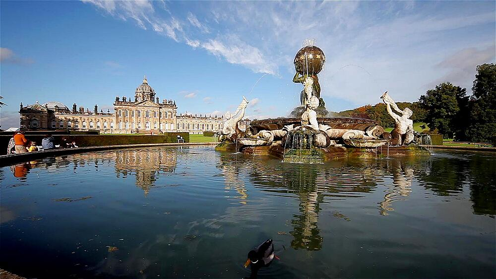 Castle howard, atlas fountain & mallard duck