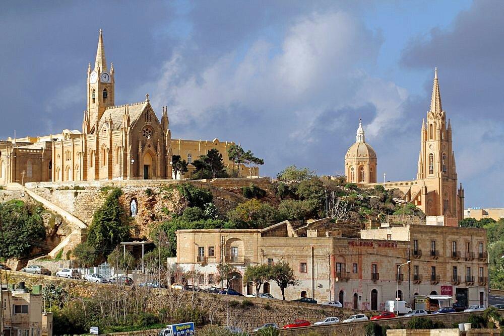 Church of Our Lady of Lourdes and Ghajnsielem Parish Church, Gozo, Malta, Europe
