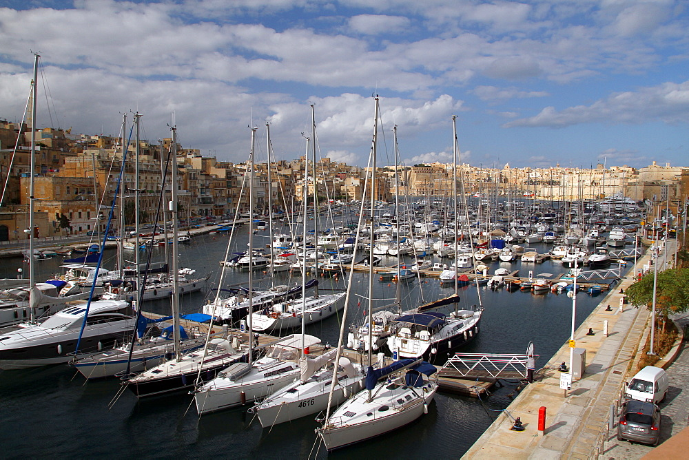 Yacht and pleasure boats in harbour, Island of Malta, Mediterranean, Europe
