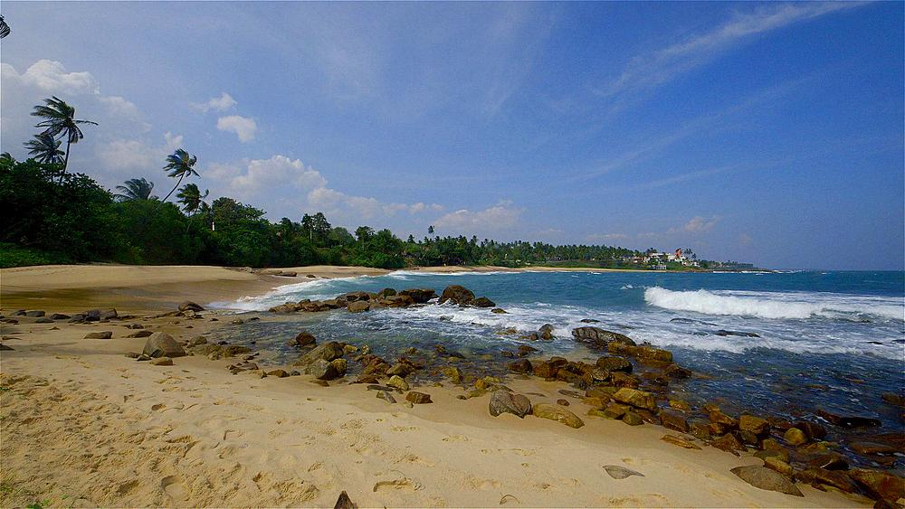 Golden Beach, Rocks & Indian Ocean, Tangalle, Sri Lanka