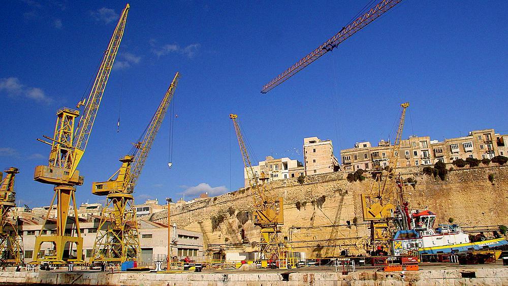 Yellow Cranes & Dry Docks, Senglea, Malta