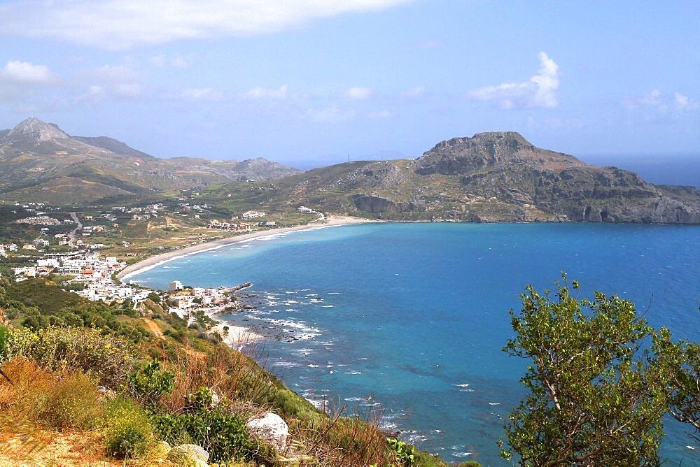 Bay, beach and mountain, Plakias, Crete, Greek Islands, Greece, Europe