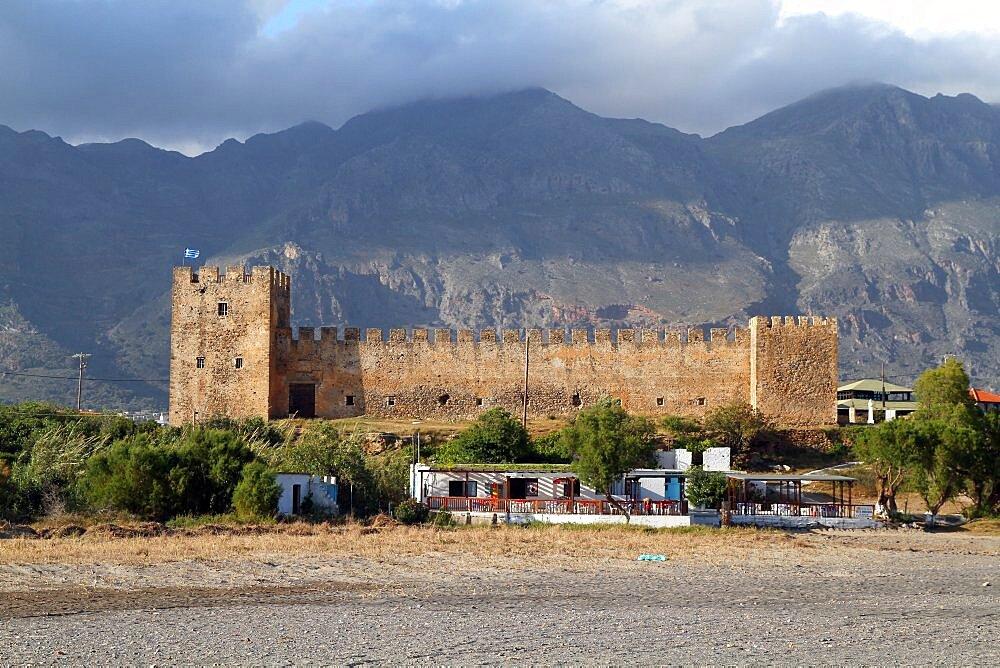 Castle and mountains, Frangokastello, Crete, Greek Islands, Greece, Europe,