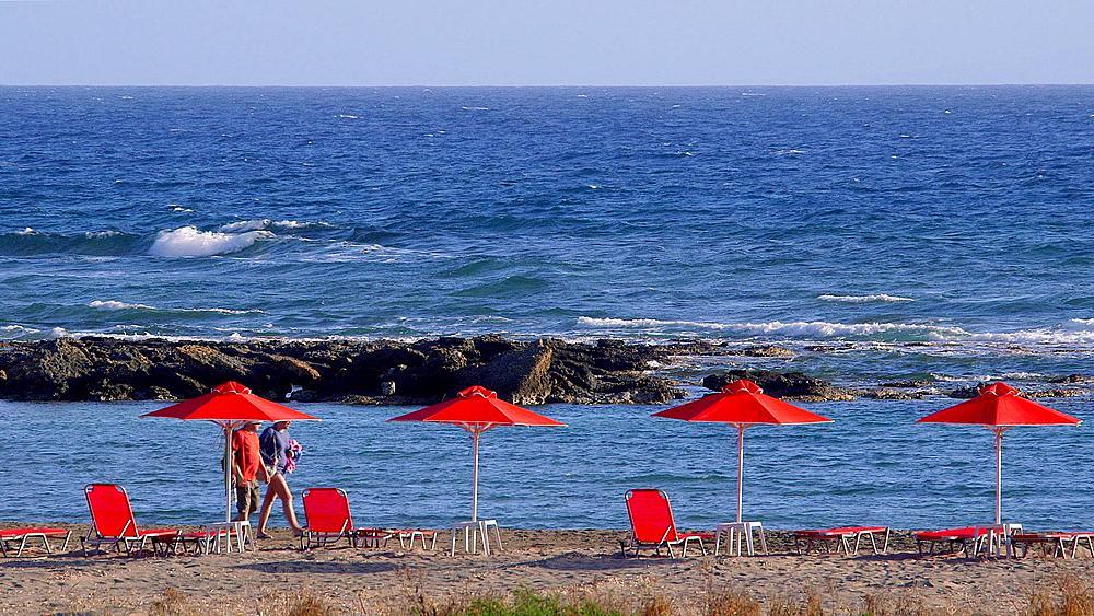 Red Parasols & Mediterranean Sea