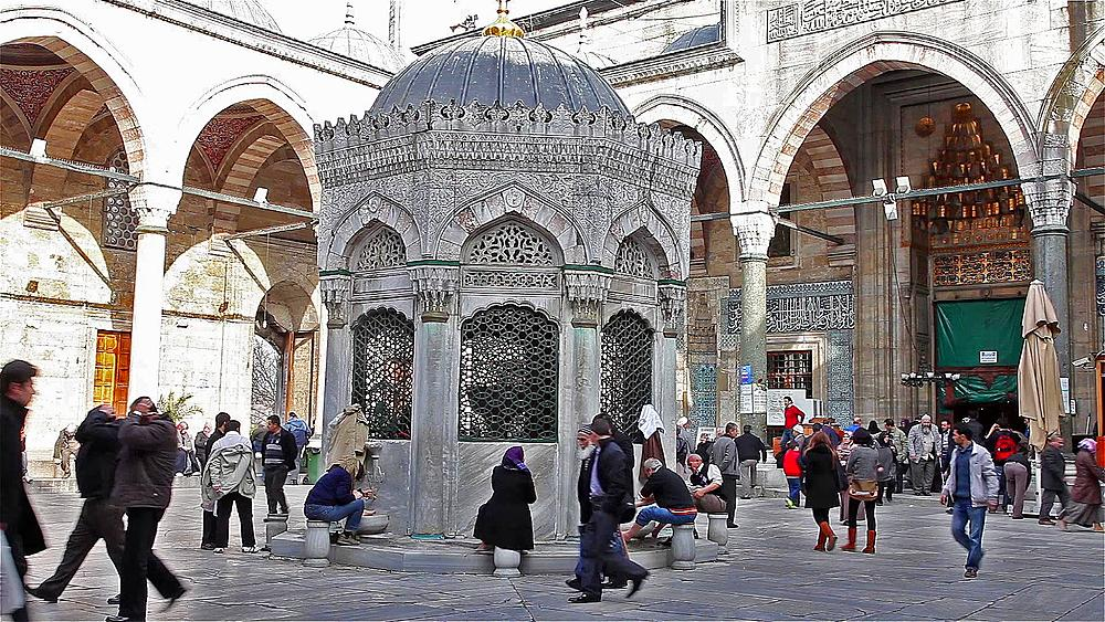 Muslims Washing Feet At New Mosque Fountain Eminonu, Istanbul, Turkey