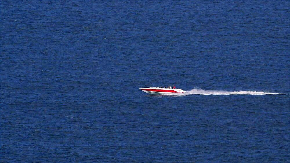 Red & White Speed Boat, North Sea, Scarborough, England