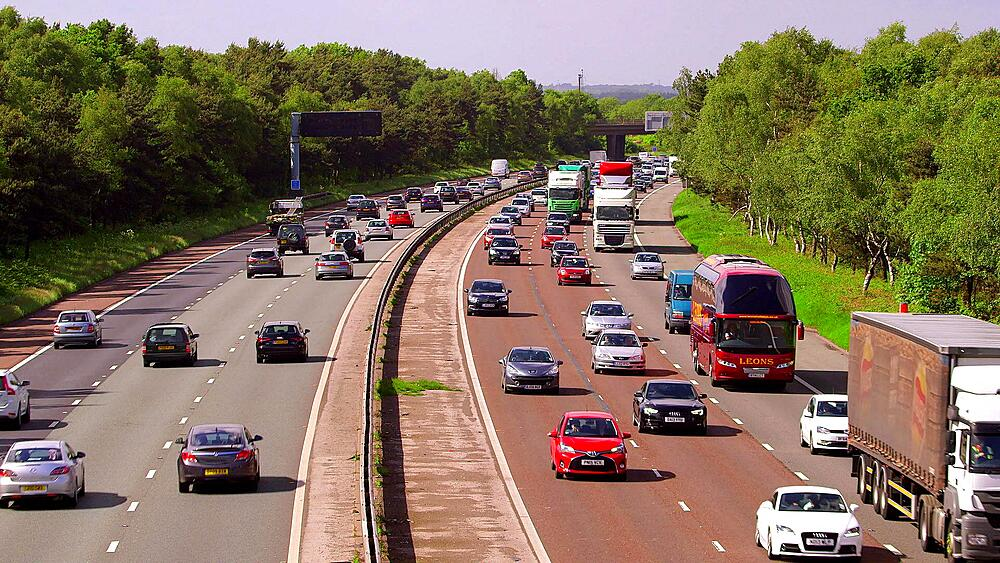 Cars & Lorry Traffic Congestion, M6 Motorway, Cheshire, England