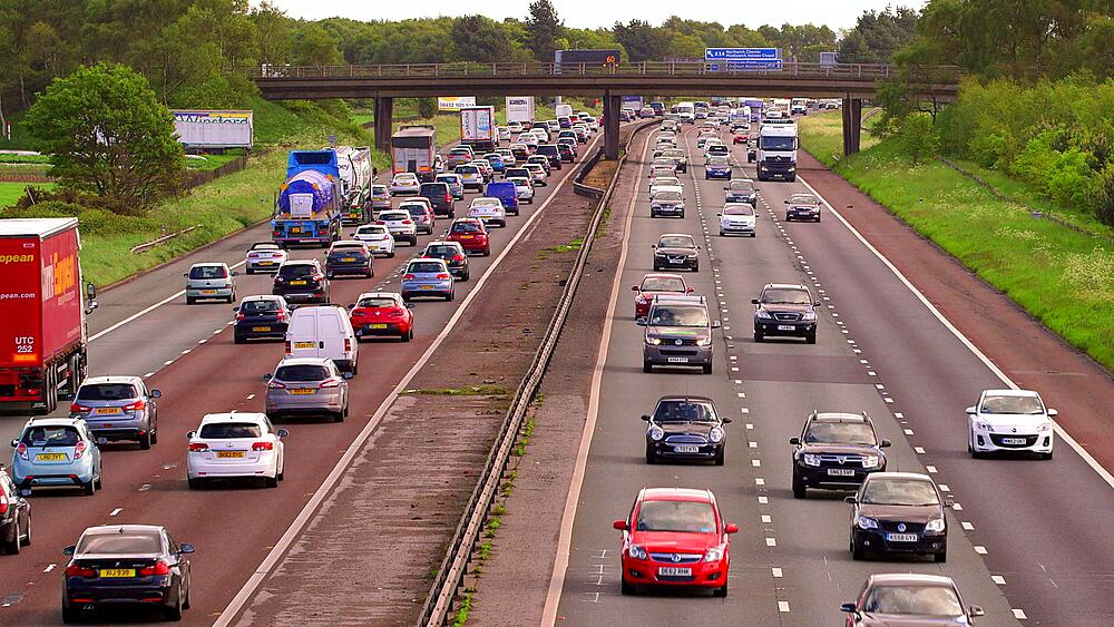 Congested Cars & Lorry Traffic, M6 Motorway, Cheshire, England
