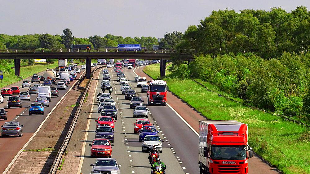 Congested Cars, Motorcycles & Lorries, M6 Motorway, Cheshire, England