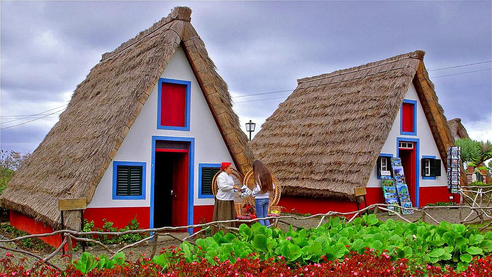 Local Woman & Tourist At Traditional Thatched Triangular Houses, Santana, Madeira - 1130-3522