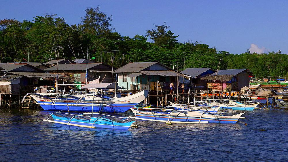 Colourful Jukung Boats & Houses, Puerto Princesa, Philippines, Asia - 1130-3754