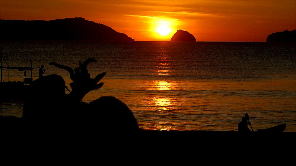 Red sunset over islands, El Nido, Palawan, Philippines