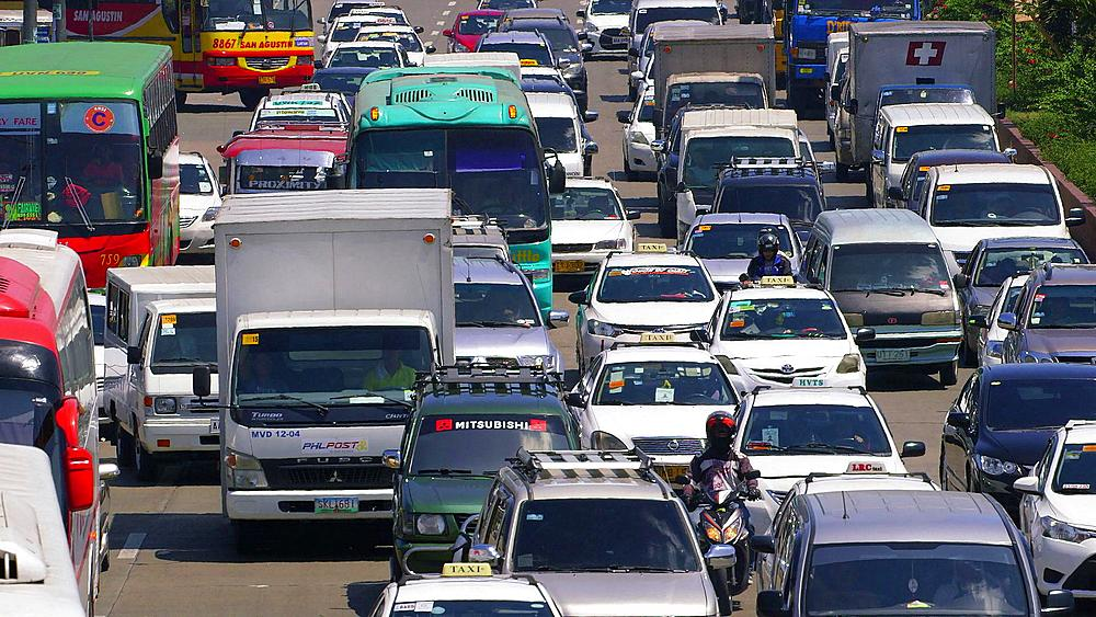 Cars & buses in heavy traffic, Baclaran, Manila, Philippines