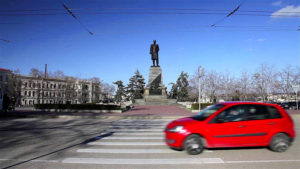 Zebra Crossing & Trolley Bus, Sevastopol, Crimea, Ukraine